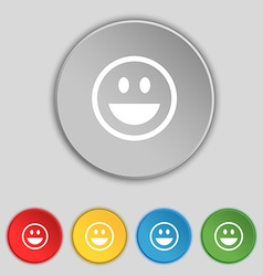 Funny face icon sign symbol on five flat buttons vector
