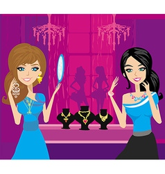 Girls at a jewelry store vector