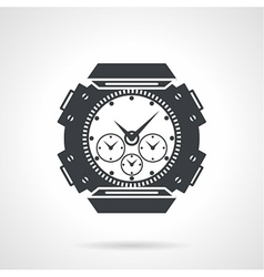 Sports wrist watch black icon vector