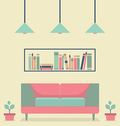 Flat design interior vintage sofa and bookshelf vector