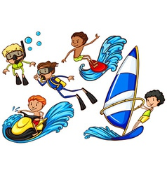 Boys enjoying the watersport activities vector