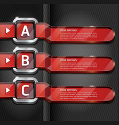 Red buttons website style options banner vector