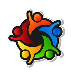 Team hi5 with black background logo design element vector