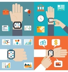 Payment and financial news via smart watch vector