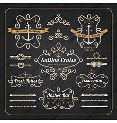 Vintage nautical rope frame labels set vector