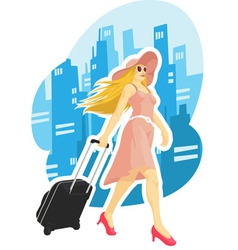 Woman tourist travelling with city background vector