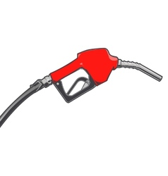 Red fuel nozzle with hose vector
