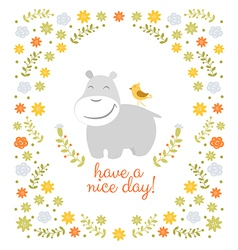 Happy hippo on floral background vector
