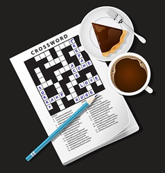 Crossword game mug of coffee and chocolate pie vector