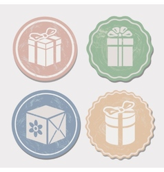 Gift box icon set different vintage styles vector