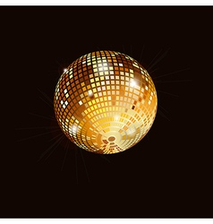 Gold mirror ball isolated vector