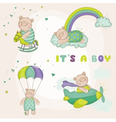Baby bear set - baby shower or arrival card vector