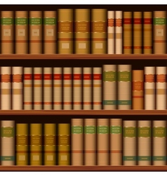 Seamless library shelves with old books vector