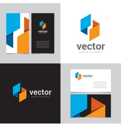 Logo design element with two business cards - 10 vector