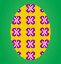 Yellow easter egg with flower pattern vector