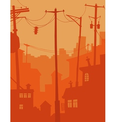 Cartoon city in orange tones vector