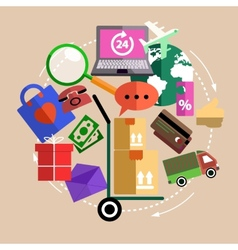 Internet shopping process delivery vector