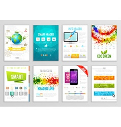 Set of flyer brochure background banner designs vector