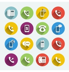 Phone handset flat icons vector