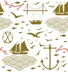 Sea voyage seamless pattern vector