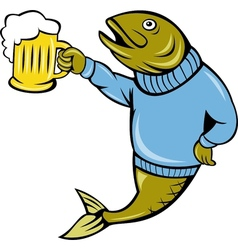 Trout fish holding a beer mug vector