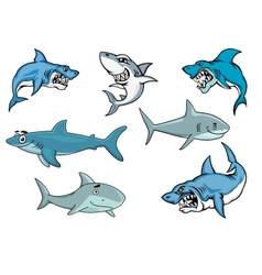 Cartoon sharks with various expressions vector