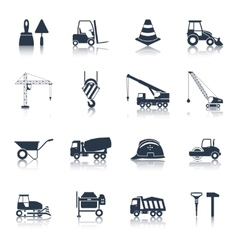 Construction icons black vector