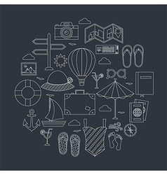 Flat summer travel line objects set vector