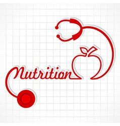 Stethoscope make nutrition word and apple vector