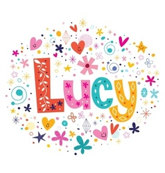 Lucy female name decorative lettering type design vector