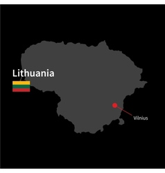 Detailed map of lithuania and capital city vilnius vector