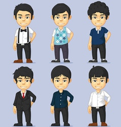 Young man character set vector