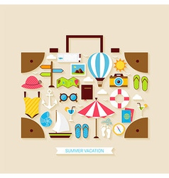 Flat vacation travel summer holiday objects set vector