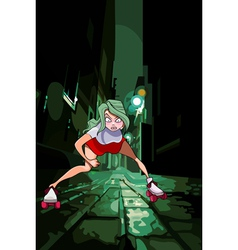 Cartoon girl rollerblading on the night street vector