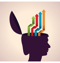 Thinking concept-human head with colorful arrows vector
