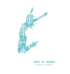Light blue swirls damask jumping girl vector