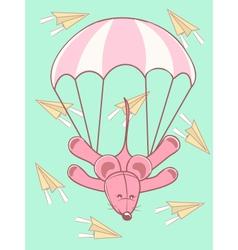 Baby card parachute jump vector
