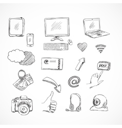 Doodle social media icons set vector