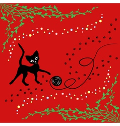Black cat playing with ball of yarn vector