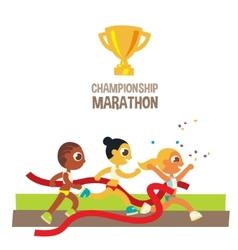 Women championship marathon runners vector