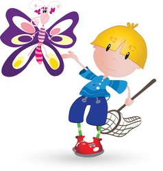 Boy with butterfly resize vector