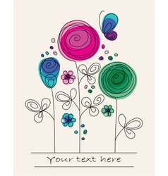 Funny colorful background with abstract flowers vector