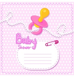 Baby shower pink card template vector