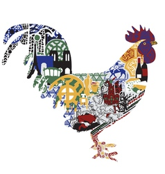 Cock with patterns francs vector