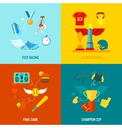 Championship icons flat vector