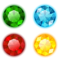 The set of four colorful jewels vector