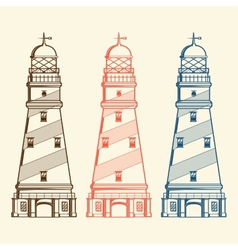Retro lighthouses set vector