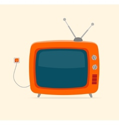 Red retro tv with wire flat design vector