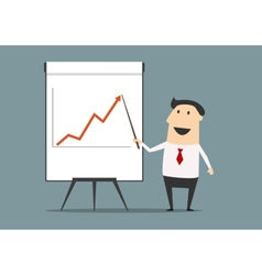 Businessman presenting financial growth on graph vector