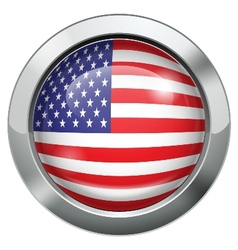 America flag metal button vector